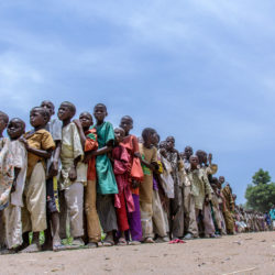 On 12 August 2016 internally displaced children waiting for ready-to-use therapeutic food (RUTF) distribution in Banki IDP camp, Borno state, northeast Nigeria. Photo: UNICEF/Andrew Esiebo